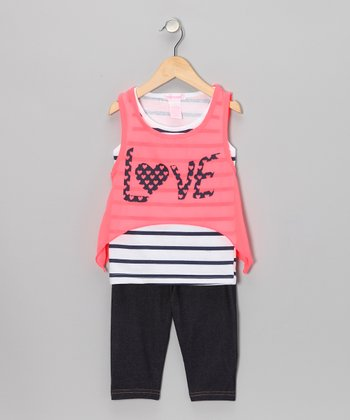 Neon Coral 'Love' Tank & Jegging Shorts - Infant & Toddler