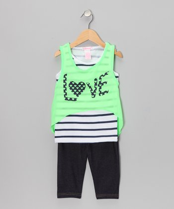 Neon Lime 'Love' Tank & Jegging Shorts - Infant & Toddler