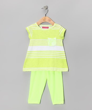 Lime Green Stripe Tunic & Capri Leggings - Toddler