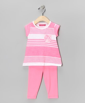Pink Stripe Tunic & Capri Leggings - Toddler