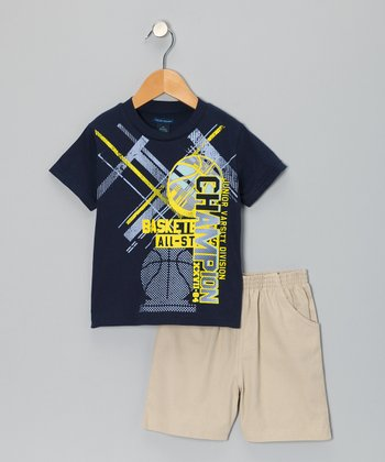 Blue 'Basketball' Tee & Khaki Shorts - Toddler