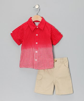 Red Ombré Gingham Button-Up & Khaki Shorts - Toddler