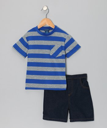 Royal Blue Stripe Pocket Tee & Denim Shorts - Toddler