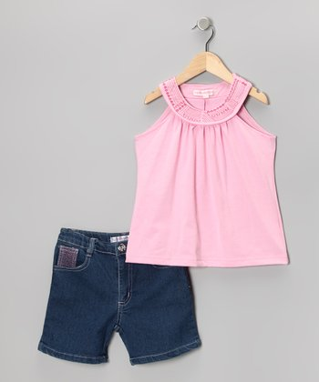 Pink Yoke Top & Denim Shorts - Toddler & Girls