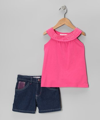 Dark Pink Yoke Top & Denim Shorts - Toddler & Girls