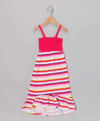 Fuchsia Stripe Maxi Dress - Toddler
