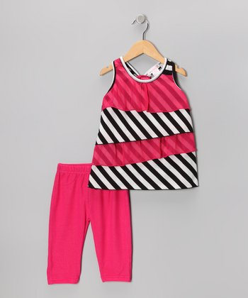 Hot Pink Tiered Ruffle Tunic & Leggings - Toddler & Girls