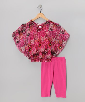 Fuchsia Floral Cape-Sleeve Top & Capri Leggings - Toddler