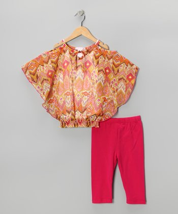 Orange Floral Cape-Sleeve Top & Capri Leggings - Toddler