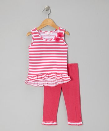Fuchsia Stripe Tunic & Leggings - Toddler & Girls