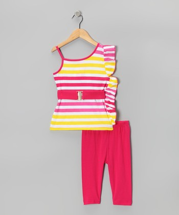 Hot Pink Stripe Ruffle Tunic & Capri Leggings - Toddler & Girls