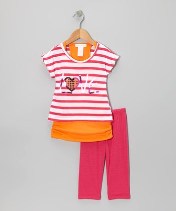 Fuchsia 'Love' Crop Top Set - Toddler