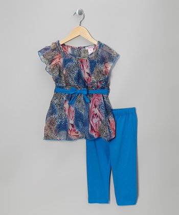 Blue Zebra Chiffon Tunic & Leggings - Girls