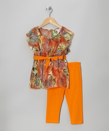 Orange Zebra Chiffon Tunic & Leggings - Girls