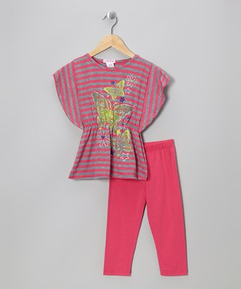 Fuchsia Stripe Cape-Sleeve Tunic & Leggings - Toddler & Girls