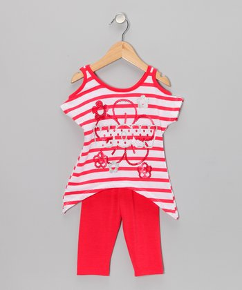 Red Stripe Top & Leggings - Toddler & Girls