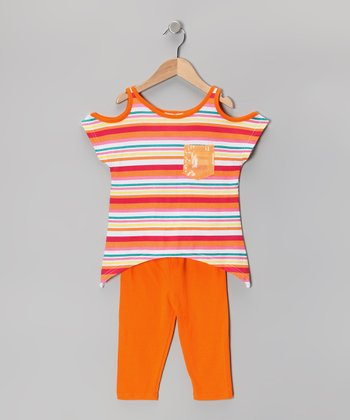 Orange Stripe Cutout Sidetail Tunic & Capri Leggings - Toddler