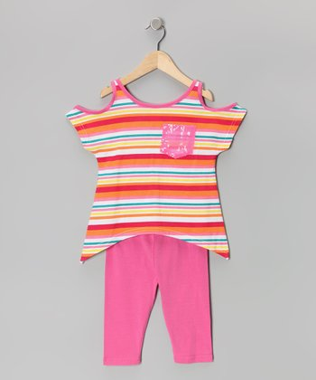 Pink Stripe Cutout Sidetail Tunic & Capri Leggings - Toddler