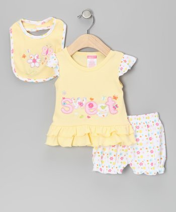 Yellow Floral Ruffle Dress Set