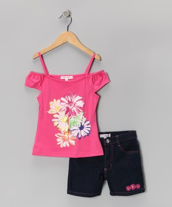 Pink Daisy Top & Denim Shorts - Girls