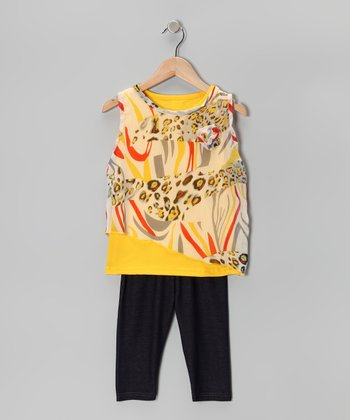 Yellow Leopard Layered Tunic & Leggings - Infant & Toddler