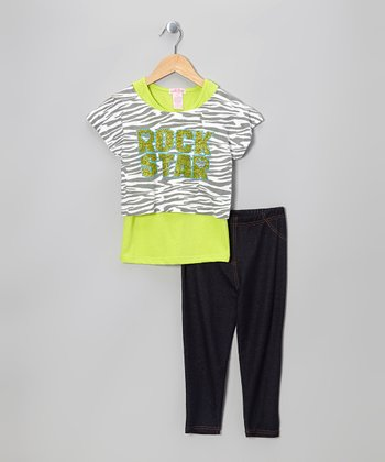 Lime 'Rock Star' Crop Top Set - Girls