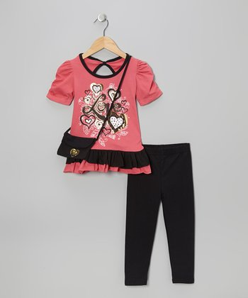 Peach 'Love' Tunic Set - Girls