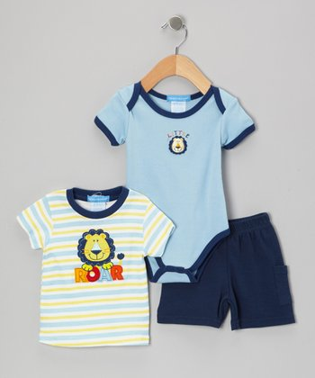 Blue Lion Bodysuit Set