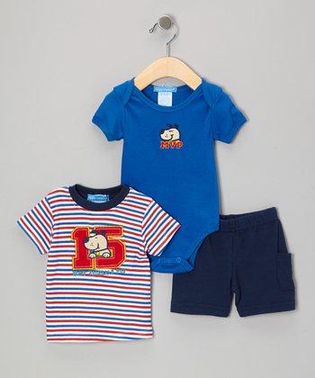 Teddy Boom Blue Puppy Bodysuit Set - Infant
