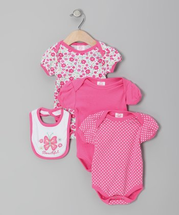 Pink Butterfly Bodysuit Set