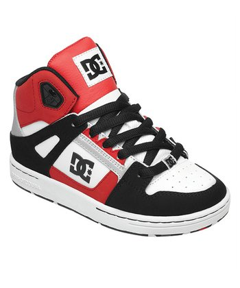 White & Red Rebound Hi-Top Sneaker