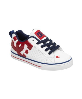 White & Red Court Graffik Vulcanized Shoe
