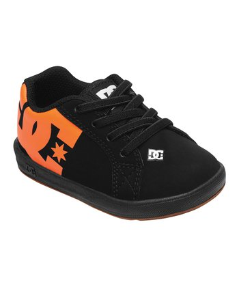 Black & Orange Court Graffik Elastic Unilite Sneaker