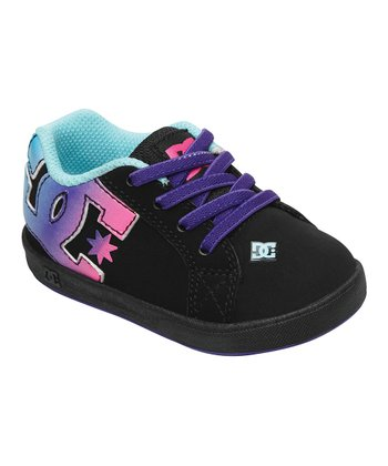 Black & Purple Court Graffik Elastic Unilite Sneaker