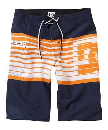 Navy Stripe Lyman Boardshorts - Boys