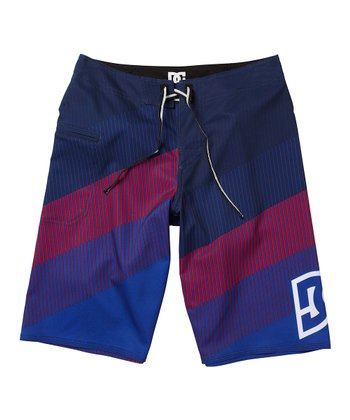 Purple & Maroon Stripe Boardshorts - Boys