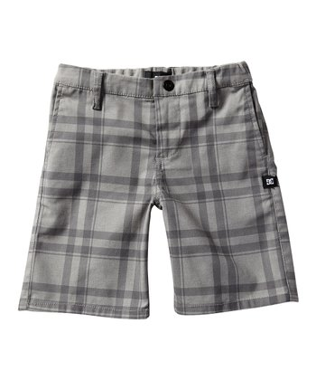 Gray Plaid Chino Shorts - Boys