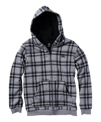 Gray Plaid Fleece Zip-Up Hoodie - Toddler & Boys