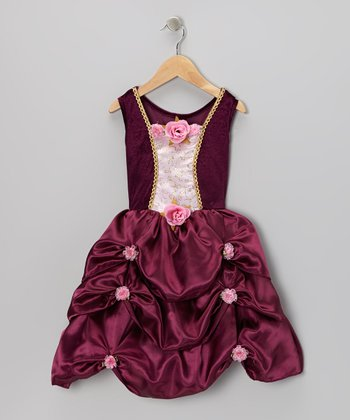 Maroon Rosette Pick-Up Dress - Toddler & Girls