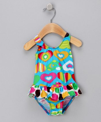 Groovy Hearts Skirted One-Piece Swimsuit - Infant, Toddler & Girls