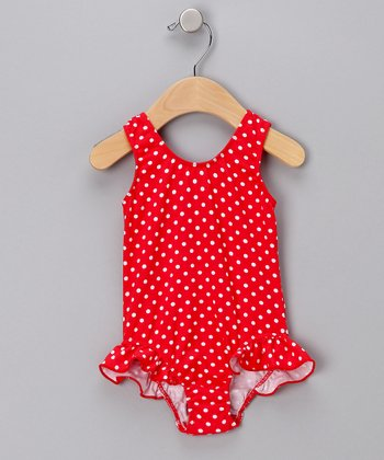 Red Polka Dot Ruffle One-Piece Swimsuit - Infant, Toddler & Girls