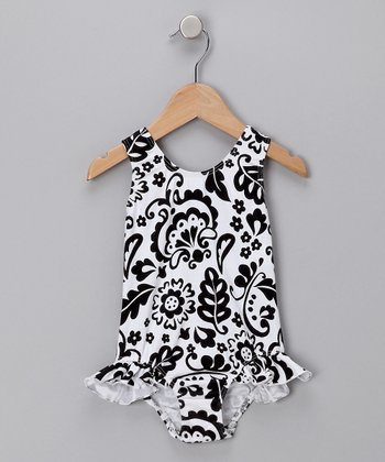Vintage Scroll Ruffle One-Piece Swimsuit - Infant, Toddler & Girls
