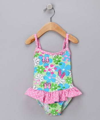 Flip-Flop Skirted One-Piece Swimsuit - Infant, Toddler & Girls