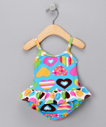 Teal Hearts Skirted One-Piece Swimsuit - Infant, Toddler & Girls