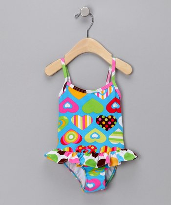 Teal Groovy Skirted One-Piece Swimsuit - Infant