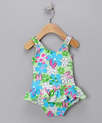 Flip-Flop Floral Skirted One-Piece Swimsuit