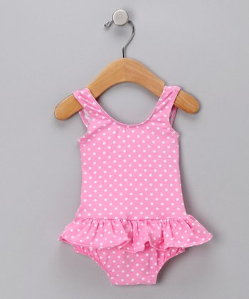 Pink Polka Dot Skirted One-Piece Swimsuit - Infant