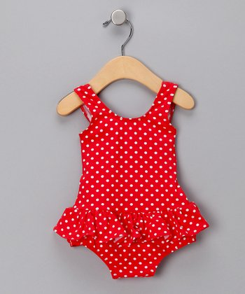 Red Polka Dot Skirted One-Piece Swimsuit - Infant