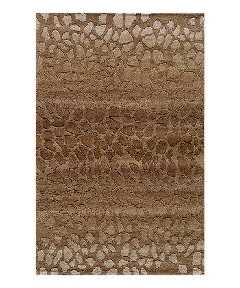 Brown Cobblestone Wool Rug
