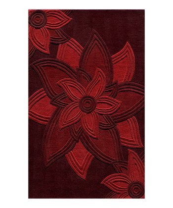 Red Star Flower Wool Rug